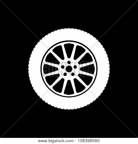 The tire icon. Wheel symbol. Flat