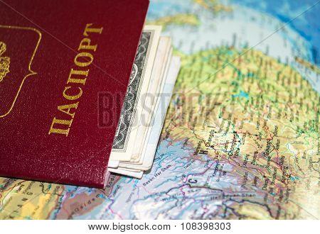 Travel accessories. Map, passport, money