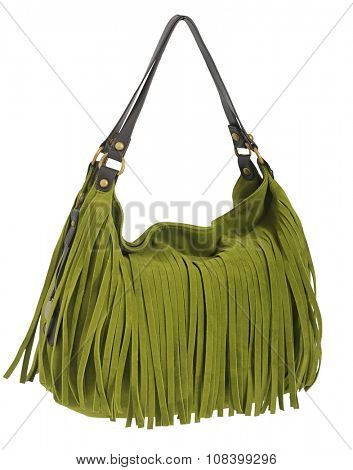 green bag isolated on white