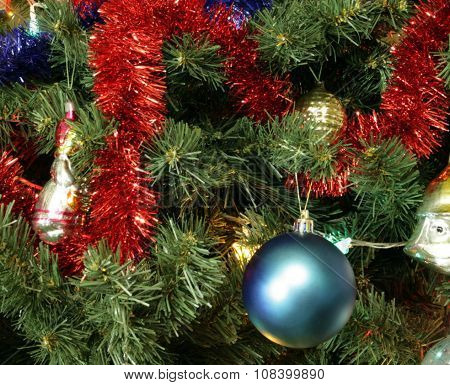 Many Of Toys On Green Christmas Fir