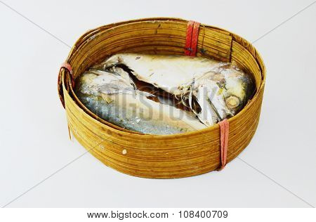 boiled mackerel on bamboo container