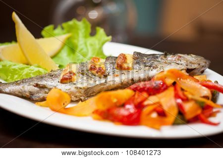 Tasty dish of rainbow trout fish with vegetables