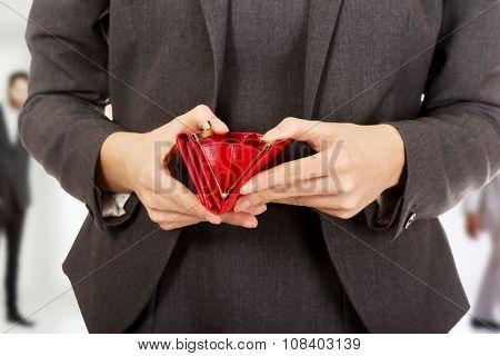 Caucasian businesswoman with empty wallet.