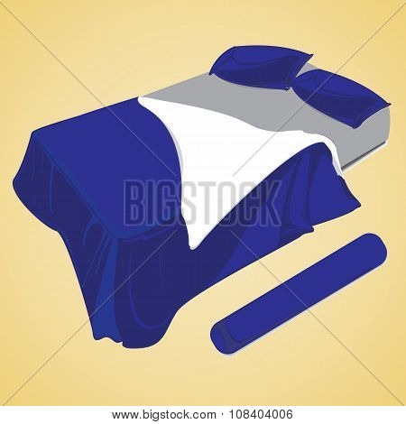 Blue bed sheet on a graphic pattern
