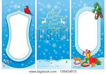 Set Of Vertical Banners - Christmas And New Year Cards With Bullfinch Bird, Frame, Fir Tree Branches