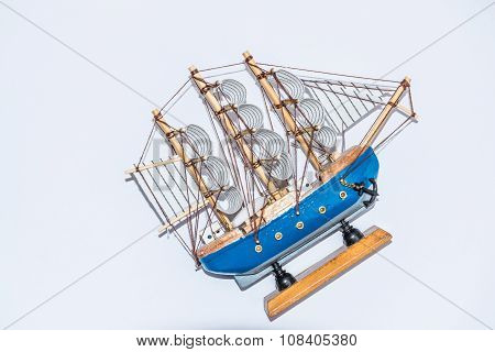 A Model Of A Wooden Boat In The Old Style