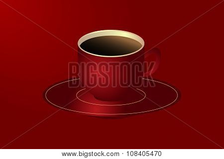 Red Cup Of Hot Black Coffee