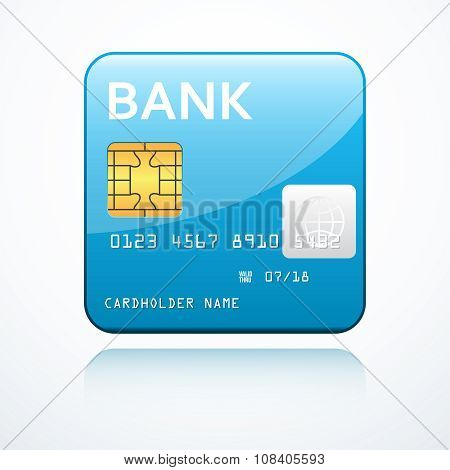 Blue bank card icon