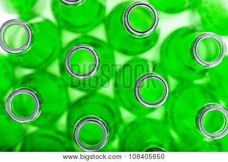 Empty Green Bottles Background