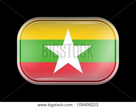 Flag Of Myanmar. Rectangular Shape With Rounded Corners