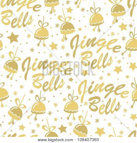 Golden bells seamless pattern
