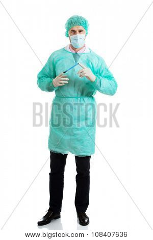 Handsome male surgeon with a scalpel.