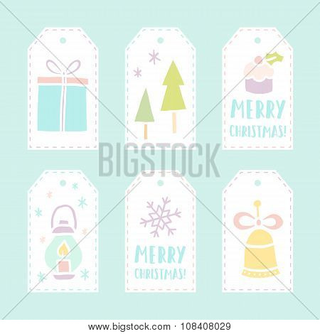 Set of 6 vector christmas gift tags