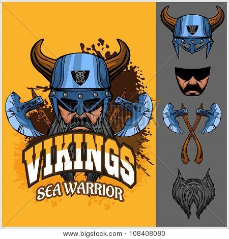 Viking warrior and isolated elements