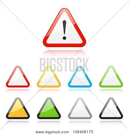 Set of triangle warning signs