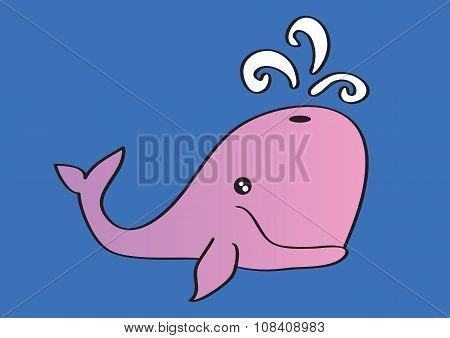 Pink Whale Blowing Water Cartoon Vector Illustration
