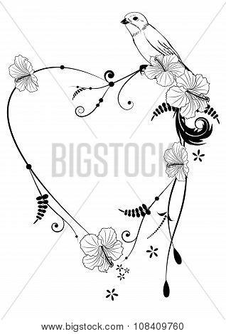 Valentine Frame With Bird