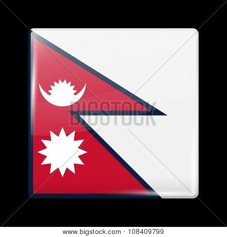 Flag Of Nepal. Glassy Icon Square Shape