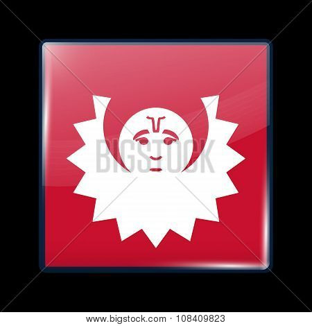 Nepal Variant Flag. Glassy Icon Square Shape