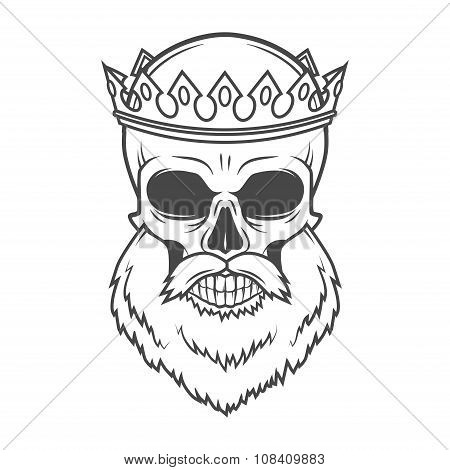 Bearded Skull King with Crown vector design. Vintage Royal old man illustration. Medieval style