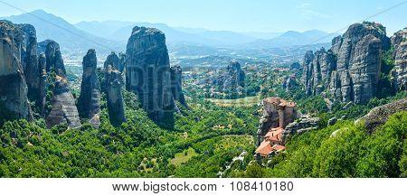 Meteora Rocky Monasteries Summer Panorama.