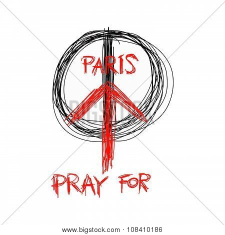 Illustration Vector Doodle Hand Drawn Of Sketch Pray For Paris, France And Peace Symbol Drawing On W