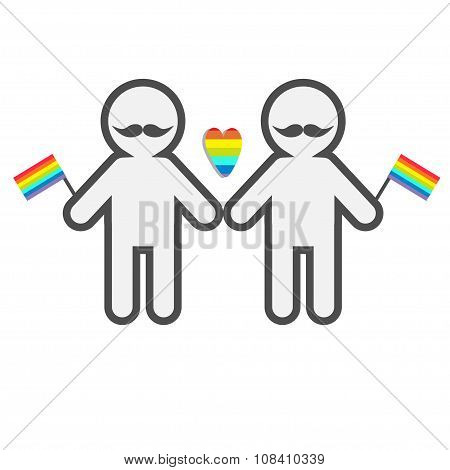 Gay Marriage Pride Symbol Two Contour Man With Mustaches And Flags Lgbt Icon Rainbow Heart Flat Desi