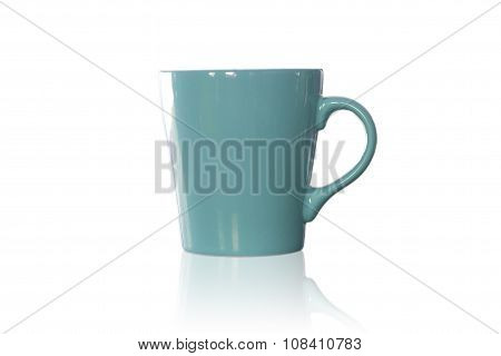Green Coffee Mug Isolated On White Background