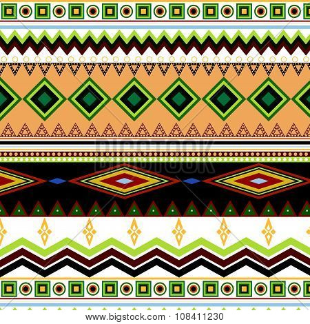 Tribal Ethnic Seamless Stripe Pattern On White Background