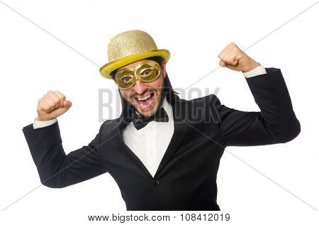 Funny man wearing mask isolated on white