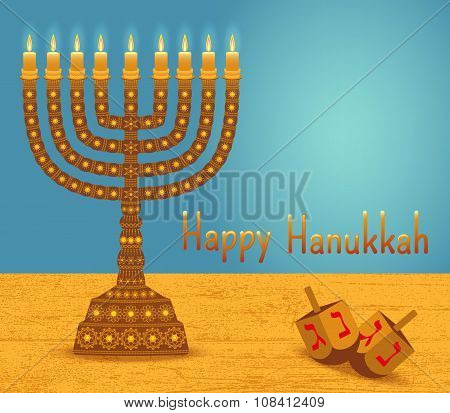 Hanukkah background with menorah, dreidels, text Happy Hanukkah and place for your text. Candles, Da