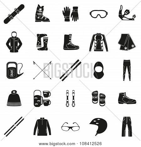Set of equipment, cloth and shoes for winter kind of sports. Snowbord, mountain skies, cross country