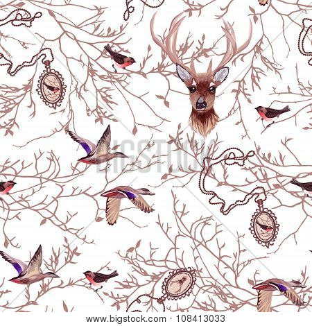 Wildlife Seamless Vector Pattern With Tree Branches, Chain Medallions, Deer, Birds.
