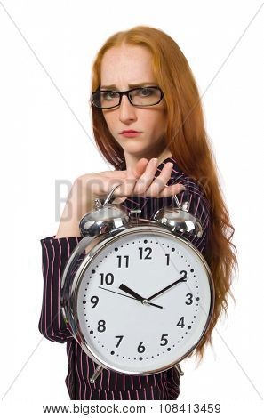 Pretty office employee with alarm clock isolated on white
