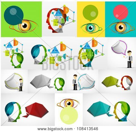 Set of clouds, users and assistants concept. Head, person, eye with speech bubble. Vector illustration.