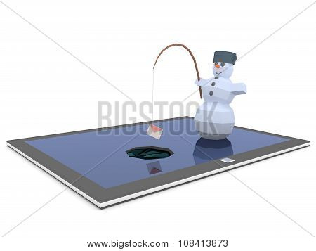 Snowman is fishing on the tablet