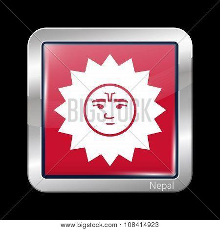 Nepal Variant Flag. Metallic Icon Square Shape