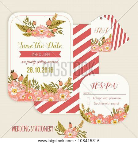 Vector  save the date card  with hand drawn vintage  flowers  in rustic style with tags and rsvp car