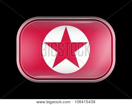 North Korea Variant Flag. Rectangular Shape With Rounded Corners