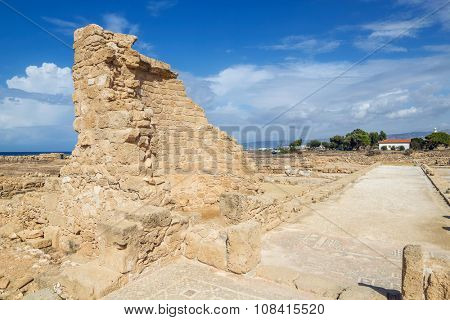 Paphos Archaeological Park in sunny day, Cyprus.