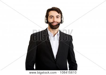 Young handsome smiling call center man.