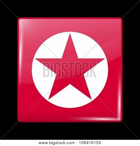 North Korea Variant Flag. Glassy Icon Square Shape