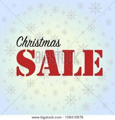 Christmas Sale On Blue Background With Snowflakes