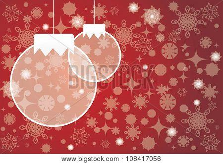 Christmas Tree Balls. Christmas Card Red Backgraund.