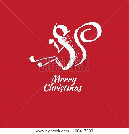 Hand drawn monkey animal vector illustration. Merry Christmas and Happy New Year card.