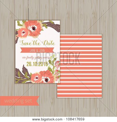 Vector  save the date card  with hand drawn vintage  flowers  in rustic style.