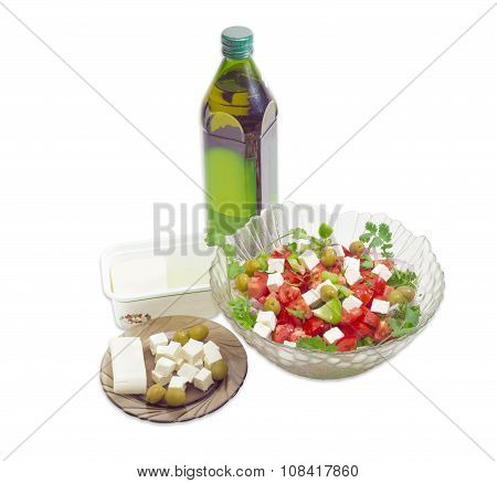 Greek Salad, Olive Oil, Feta Cheese And Olives