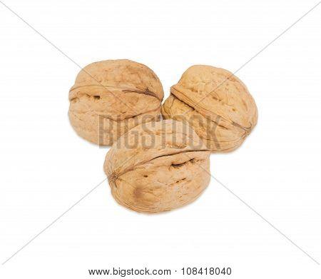 Three Walnuts On A White Background