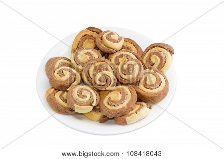 Two Coloured Sweet Roll On White Dish