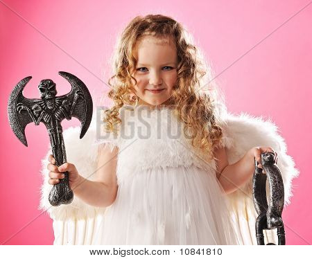 Beautiful little angel with an axe